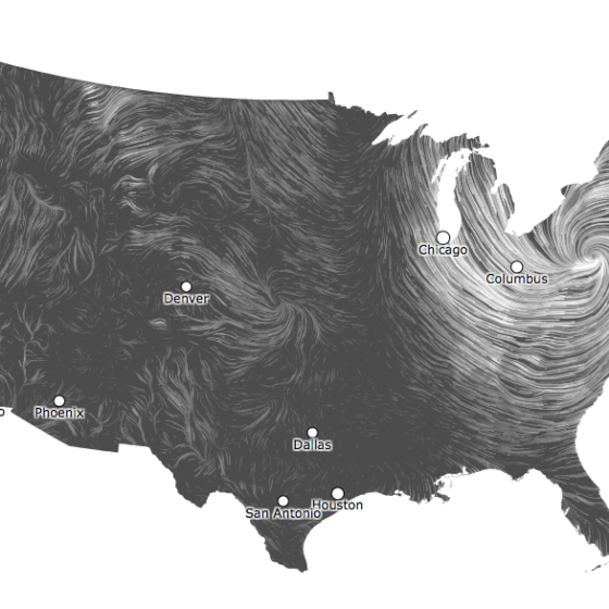 Real-time map of the winds in America during Hurricane Sandy