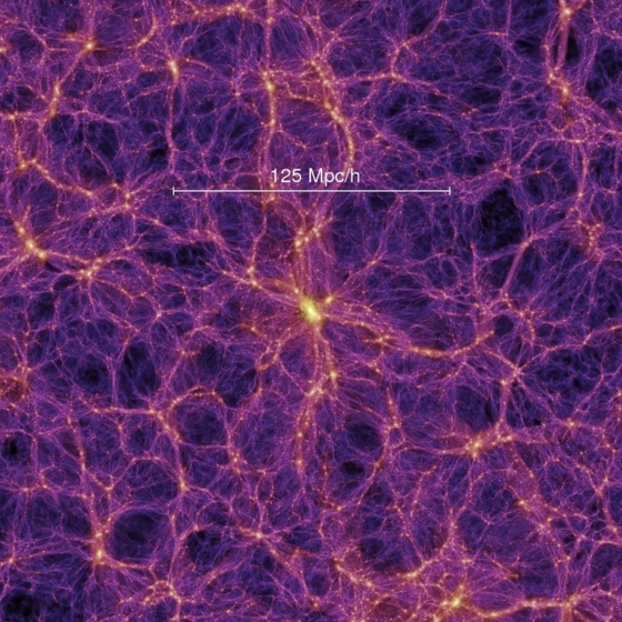 Visualization of the Millennium Simulation of our Universe based on 10-10th particles